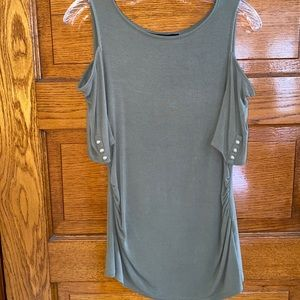 WHBM Olive Green Cold Shoulder Tee